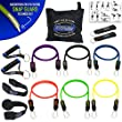 Bodylastics 14 pcs Snap Guard Resistance Bands Set with 6 Stackable anti-snap exercise tubes, Heavy Duty components, carrying case and printed instructions for the top muscle building exercises