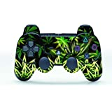 TQS™ Peau Autocollants Surface texture de cuir pour la manette de Playstation 3 - Weeds Black