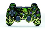 Leather Texture Surface Designer Skin for Playstation 3 Remote Controller - Weeds Black