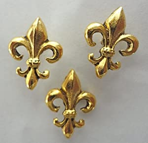 15 pieces antique gold fleur de lis push pins t 875 ag tacks and pushpins. Black Bedroom Furniture Sets. Home Design Ideas