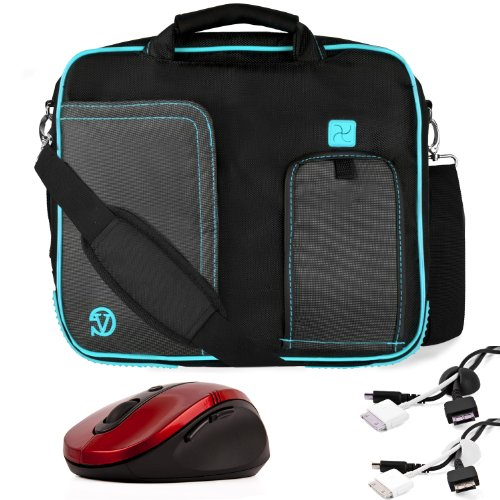 Aqua Trim Black Pindar Durable Water-Resistant Nylon Protective Carrying Case Messenger Shoulder Bag For 12-Inch Notebook Laptop 1215T / 1215B / 1215N / 1215P / Lamborghini Eee Pc / Vx6 / Vx6S / B23 / B23E / U20A / U6Vc U6V Bamboo / Ul20Ft + White Cable O