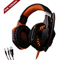 Megedream Update Version USB 3.5mm Gaming Headset KOTION EACH G2000 LED Light Game Mic Stereo Bass Headphone Earphone... - B01H1FNBT8