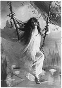 Photo: Ophelia,Girl,Flimsy negligee,Swinging on vine seat,1895