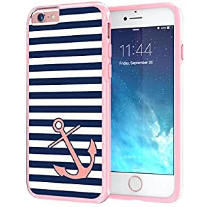 "iPhone 6 Plus, 6s Plus 5.5"" True ColorNautical Coral Anchor on Stripes on Clear Transparent Hybrid Cover Hard +Soft Slim Durable Protective Shockproof TPU Bumper +Stylus & Screen Protector - Pink"
