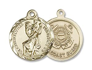 14kt Gold St. Christopher Medal Military Medal Armed Forces US Coast Guard