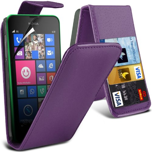 ( Purple ) Nokia Lumia 630 Premium Faux Credit / Debit Card Slot Leather Flip Skin Case Cover & Lcd Screen Protector Guard By Fone-Case