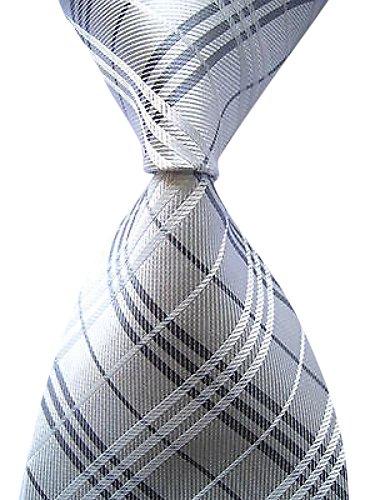 Allbebe Men's Classic Checks Silver Jacquard Woven Silk Tie Necktie (Funny Men Ties compare prices)