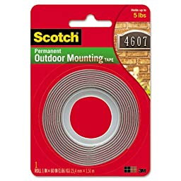 Scotch Products - Scotch - Exterior Weather-Resistant Double-Sided Tape, 1 x 60, Gray w/Red Liner - Sold As 1 Roll - Double-sided gray tape with red liner. - Weather-resistant, holds securely to indoor or outdoor surfaces such as stucco and brick. - Super
