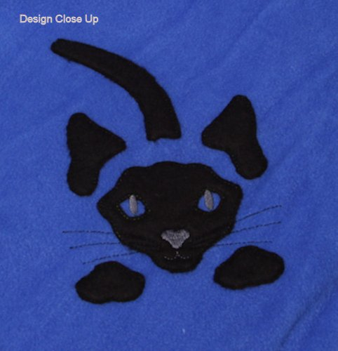 Throw With Embroidered Appliqued Cat In The Corner (Royal Blue) back-907070