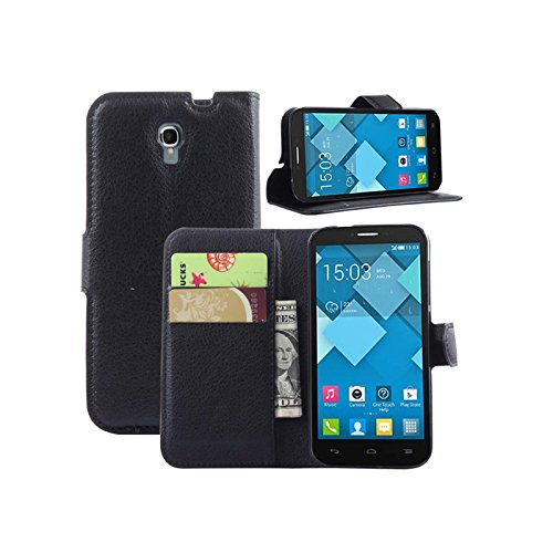 Custodia Alcatel One Touch Pop C9 Case cover Alcatel One Touch Pop C9 con Custodia silicona e Portafoglio cover + 2 slot per bancaria o altre carte - Colore Nero - Ordica France®