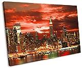 New York City Red Sunset Framed Canvas Art Print 30 x 20 inch