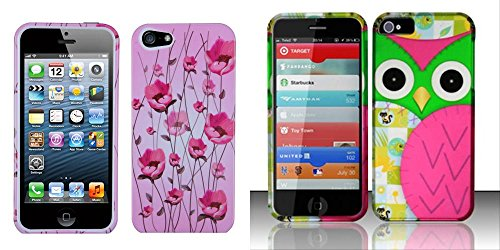 Combo Pack Mybat Sunroom Phone Protector Cover For Apple Iphone 5 And For Iphone 5 - Rubberized Design Cover - Owl front-49114