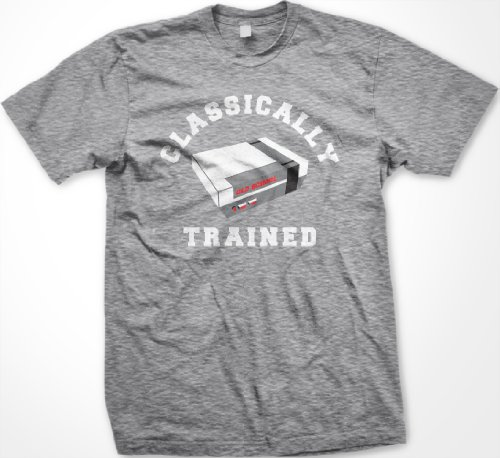 Classically Trained T-shirt, Video Game T-shirt, Old School Nintendo T-shirt , X-Large, Lt Gray