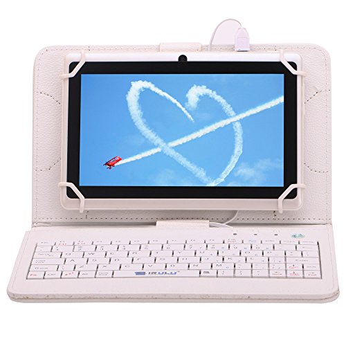 """Irulu Hd Screen Q8 7"""" Android Tablet With Keyboard Case, Android 4.2 Jelly Bean Os, 1024*600 Hd Screen With 5 Point Capactive Touch, Allwinner A23 Dual Core Cpu, Dual Cameras(0.3/2Mp), 8Gb Storage - White Tablet With White Keyboard Case"""