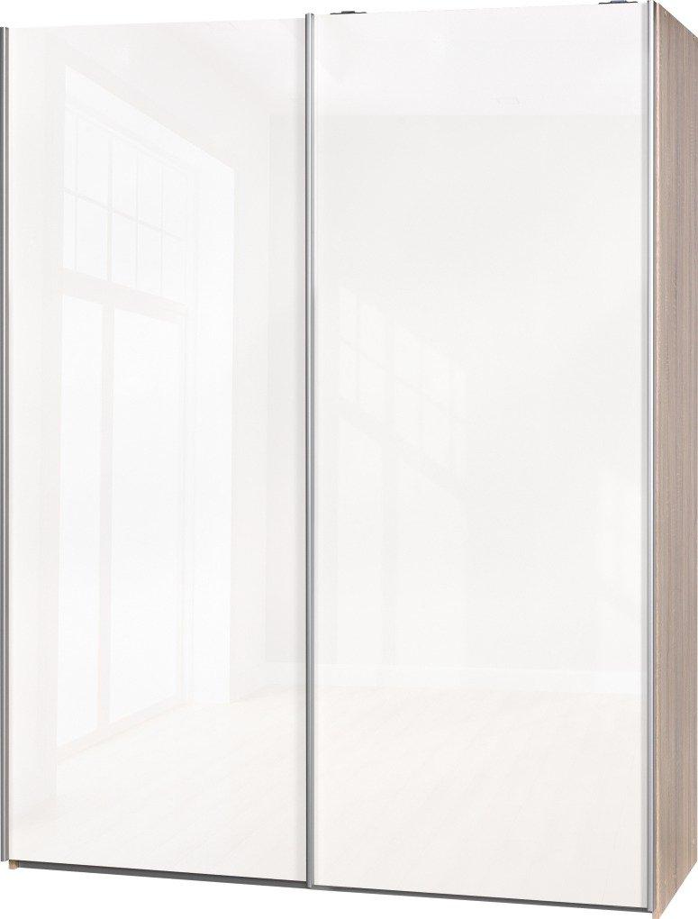 Schwebetürenschrank Soft Plus Smart Typ 43″, 150 x 194 x 61cm, Eiche/2 x Weiß hochglanz