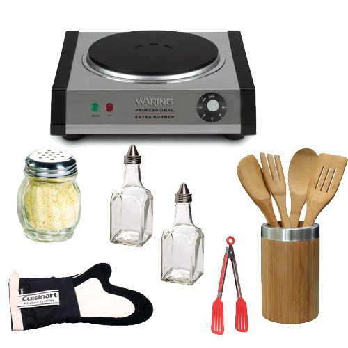Waring Pro Sb30 Countertop Portable Burner + Home Basics 5-Piece Bamboo Tool Set + Cuisinart Thumb Mitt Black + (2) Hds Trading Cs10871 Cheese And Spice Shaker (Glass Finish) + (2) Hds Trading Ov10869 Oil And Vinegar Bottle Glass Finish + 8-Inch Nylon Fli