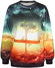 Women 3d Scenery Casual Hoodie Long Sleeve Fleece Sweatshirt Print Coat Tops