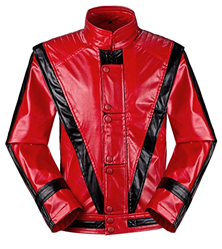 [Michael Jackson MJ Costume Thriller Red Jacket +Glove (us M+/ asia XL)] (Mj Thriller Halloween Costume)