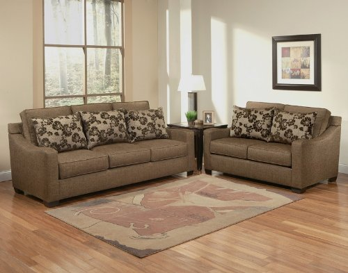 Buy Low Price Benchley 2pc Sofa Loveseat Set Box Cushion Seat and Back in Rain Forest Brown (VF_BCL-ELEMENT)