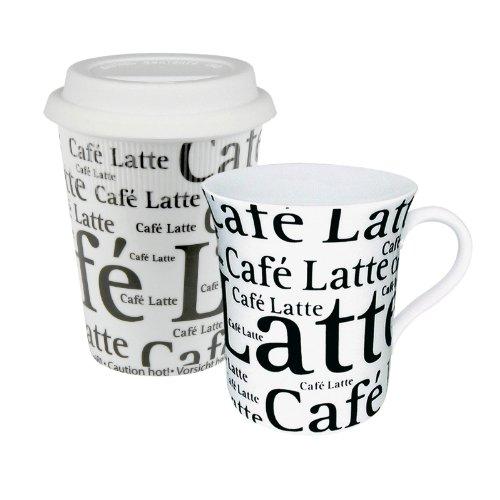 Konitz To Stay/Go Mugs, Cafe Latte White, Set of 2