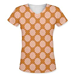 Snoogg Flora Pattern Design Womens Casual V-Neck All Over Printed T Shirts Tees