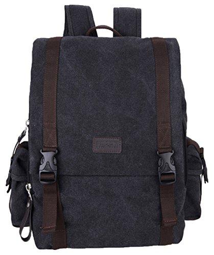 Tina Men's Buckled Flap Canvas Side Pocket Travel Backpack College School Bag Black