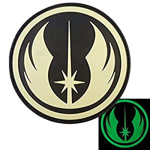 Jedi Order Lumineux Star Wars GITD PVC Gomme 3D Velcro Écusson Patch
