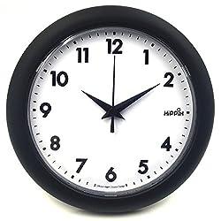 Hippih 10 Silent Quartz Decorative Wall Clock Non-ticking Black 249-A