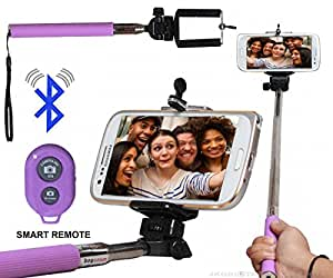 Selfie Stick Monopod With Bluetooth Remote Wireless Shutter Connectivity Compatible For Reliance Jio LYF Flame 5 -Purple