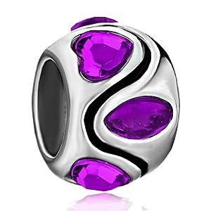Pugster February Birthstone Purple Crystal Heart Stripes Symmetric Gift Holiday Beads Fits Pandora Charm Bracelet