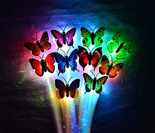 6Pcs Butterfly Led Fiber Optic Light-Up Hair Barrette - Rainbow For Concert And Party