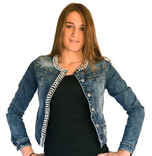 Principe - Giubbino Jeans donna, strass, perle, brillantini sexy nuova G613 (M)