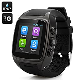 iMacwear M7 Smart Watch Phone 1.54 Inch Touch Screen Android 4.4 Waterproof Ip 67 Heart Rate Monitor GPS Tracker Support 3G Wifi Sim Card With 5.0 Mp Camera - Black