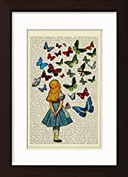 Alice In Wonderland Watching Butterflies Mounted Matted Dictionary Art Ready To Frame Print