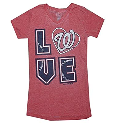 MLB Girls Team Logo Athletic T-Shirt (Vintage Look) - WASHINGTON NATIONALS