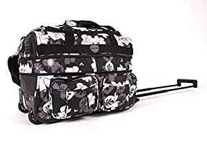 "18"" KS-EX-FP-100 BLACK FLOWERS Expandable Cabin Sized Wheeled Holdall"