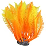 Orange Yellow Artificial Silicone Manmade Coral Shape Fish Tank Ornament