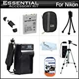"Essential Accessories Kit For Nikon Coolpix S9900, AW130, S800c S6300 S6200 S8200 S9300 S9200 Digital Camera Includes Replacement (1200MAh) EN-EL12 Battery + AC/DC Charger + Case + 50"" Tripod + More"