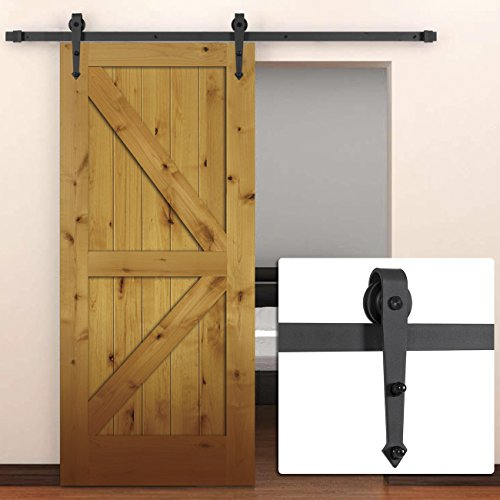 Belleze 6FT Modern American Antique Style Barn Wood Steel Sliding Door Hardware Only, (Frosted Black) (Barn Door Panel compare prices)