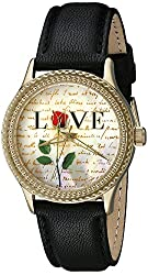 """The P.S. Collection by Arjang and Co. Women's PS-1004G-BK """"Love Letters"""" Gold Mother Of Pearl Dial Black Leather Strap Watch"""