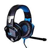 [Latest Version Gaming Headset for PS4] KingTop EACH G2000 Over Ear Stereo Gaming Headset with Mic Bass LED Light Volume Control for PS4 PC Mobile Phones (Blue & Black)