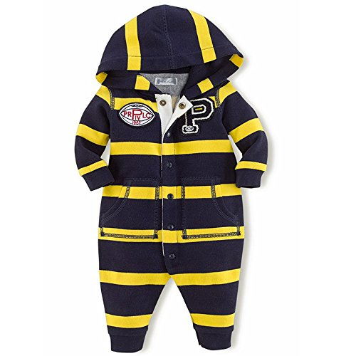 Ralph Lauren Polo Baby Boys Fleece Crested Hooded Coverall (3 Months)