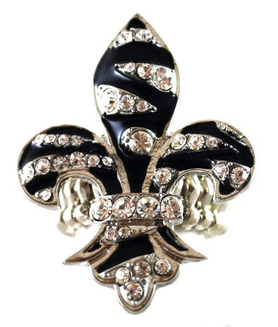 Beautiful Large Ice/Black Crystal Zebra Striped Fleur De Lis Fashion Ring on Stretch Band Silver Tone