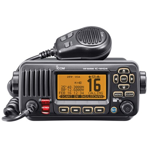 ICOM IC-M424 01 Compact Marine VHF Radio with Hailer, Black primary