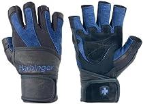 Harbinger BioFlex WristWrap Gloves, Large, Blue