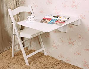 SoBuy Wall-mounted Drop-leaf Table, Folding Kitchen & Dining Table Desk, Solid Wood Children Table, 70×45cm - White, FWT04-W