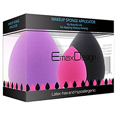 EmaxDesign 3 Piece Makeup Blender Sponge Set, Foundation Blending Blush Concealer Eye Face Powder Cream Cosmetics Beauty Makeup Sponges. latex free, non-allergenic and odour free.