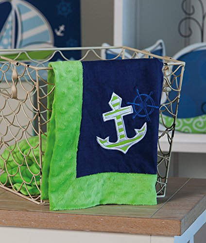 Anchor Out To Sea Embroidered Minky Dot Blanket - 1