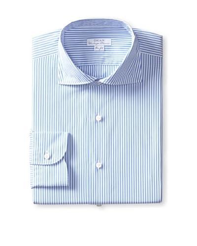 Orian Men's Slim Fit Washed Wide Spread Collar Poplin Striped Dress Shirt