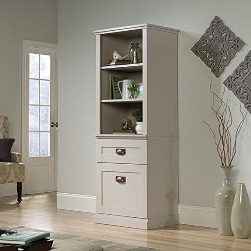 Sauder New Grange Tall Cabinet in Cobblestone